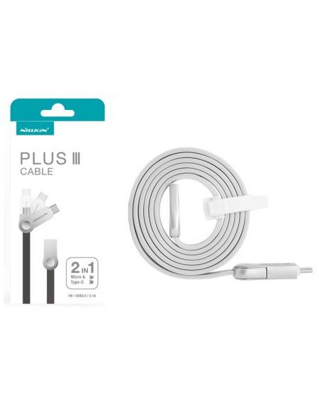 NILLKIN Kabel 2w1 Micro USB + USB Typ-C Płaski 1m